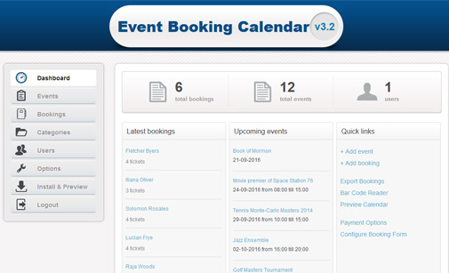 Event booking calendar software