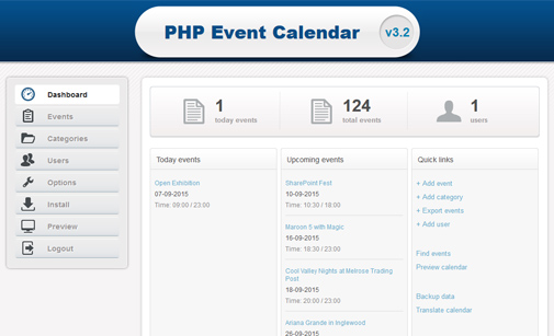 Event calendar software